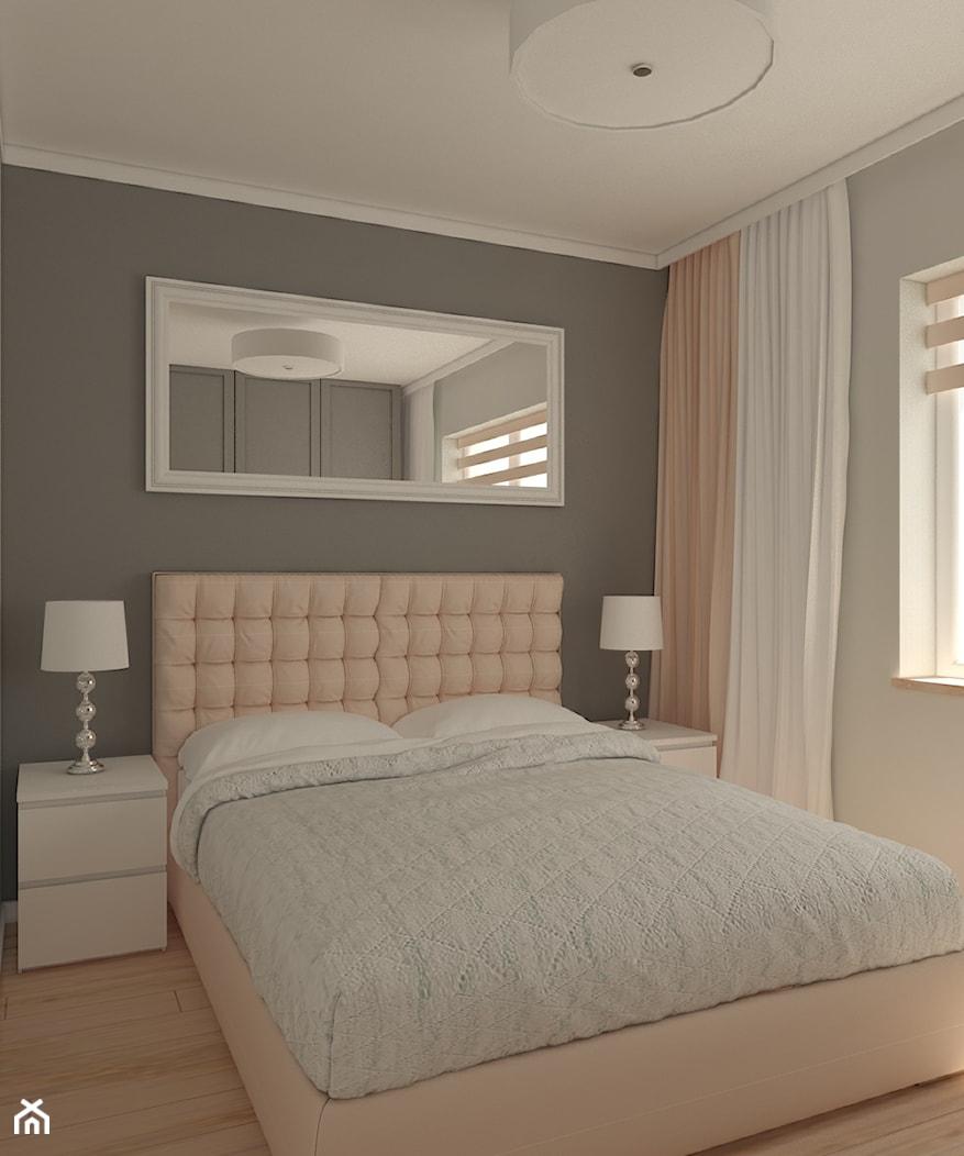 Sypialnia mieszkanie prywatne Wrocław - Średnia szara sypialnia małżeńska, styl nowoczesny - zdjęcie od Carolineart - Homebook