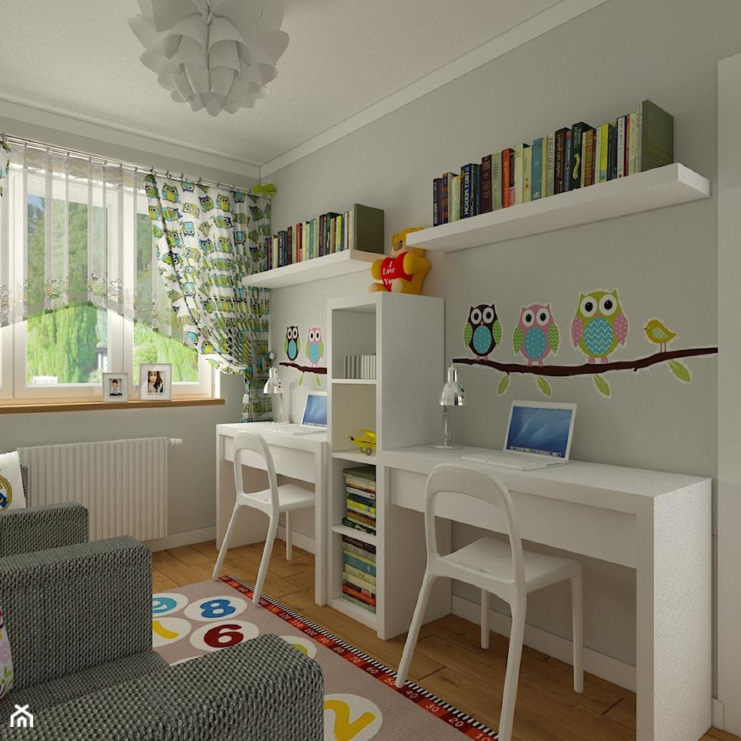 Pokój chłopca i dziewczynki - Średni szary pokój dziecka dla dziewczynki dla rodzeństwa dla malucha, styl nowoczesny - zdjęcie od Carolineart - Homebook