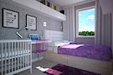 Fioletowo-szara sypialnia - zdjęcie od Carolineart - homebook