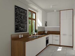 Kuchnia biel + drewno.