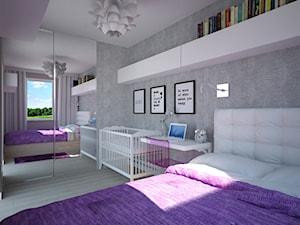 Fioletowo-szara sypialnia