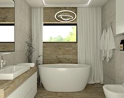 Dom Żórawina - Średnia beżowa szara łazienka w domu jednorodzinnym z oknem, styl nowoczesny - zdjęcie od Carolineart