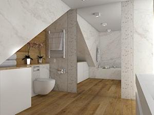Łazienka- marmur i drewno.