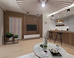 NOWOCZESNE MIESZKANIE - projekt - Duży salon z kuchnią z jadalnią, styl nowoczesny - zdjęcie od GALERIE VENIS DESIGN STUDIO - Homebook