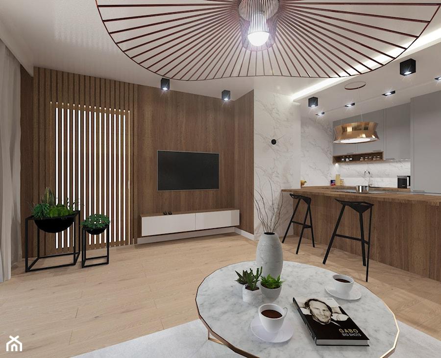 NOWOCZESNE MIESZKANIE - projekt - Duży salon z kuchnią z jadalnią, styl nowoczesny - zdjęcie od GALERIE VENIS DESIGN STUDIO