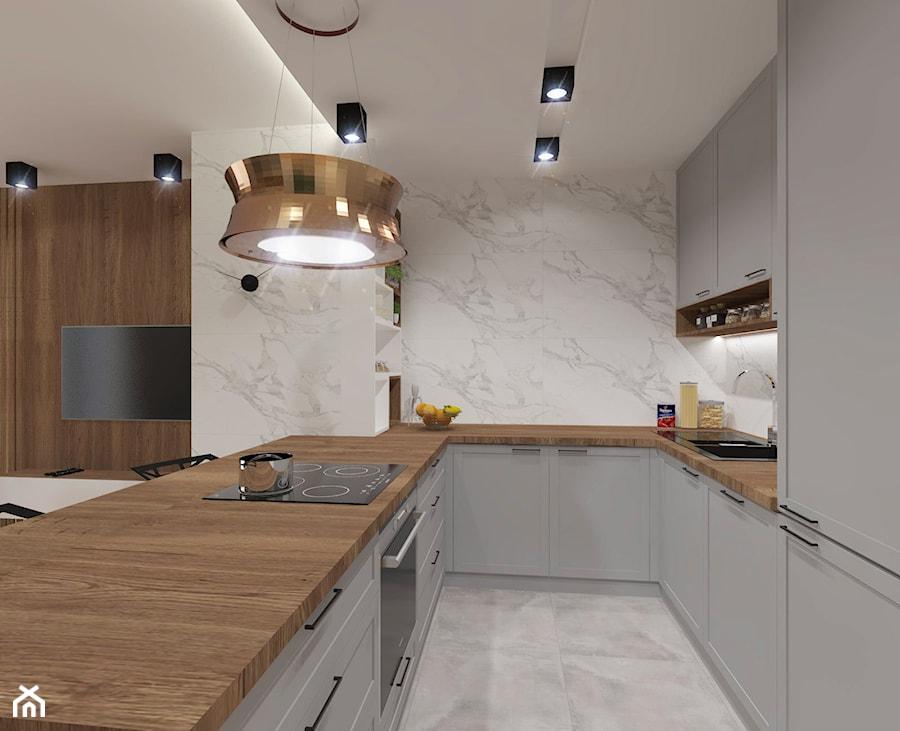 NOWOCZESNE MIESZKANIE - projekt - Średnia biała kuchnia w kształcie litery u w aneksie z wyspą, styl nowoczesny - zdjęcie od GALERIE VENIS DESIGN STUDIO