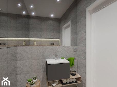 Aranżacje wnętrz - Łazienka: NOWOCZESNE MIESZKANIE - projekt - Mała szara łazienka w bloku w domu jednorodzinnym bez okna, styl nowoczesny - GALERIE VENIS DESIGN STUDIO. Przeglądaj, dodawaj i zapisuj najlepsze zdjęcia, pomysły i inspiracje designerskie. W bazie mamy już prawie milion fotografii!