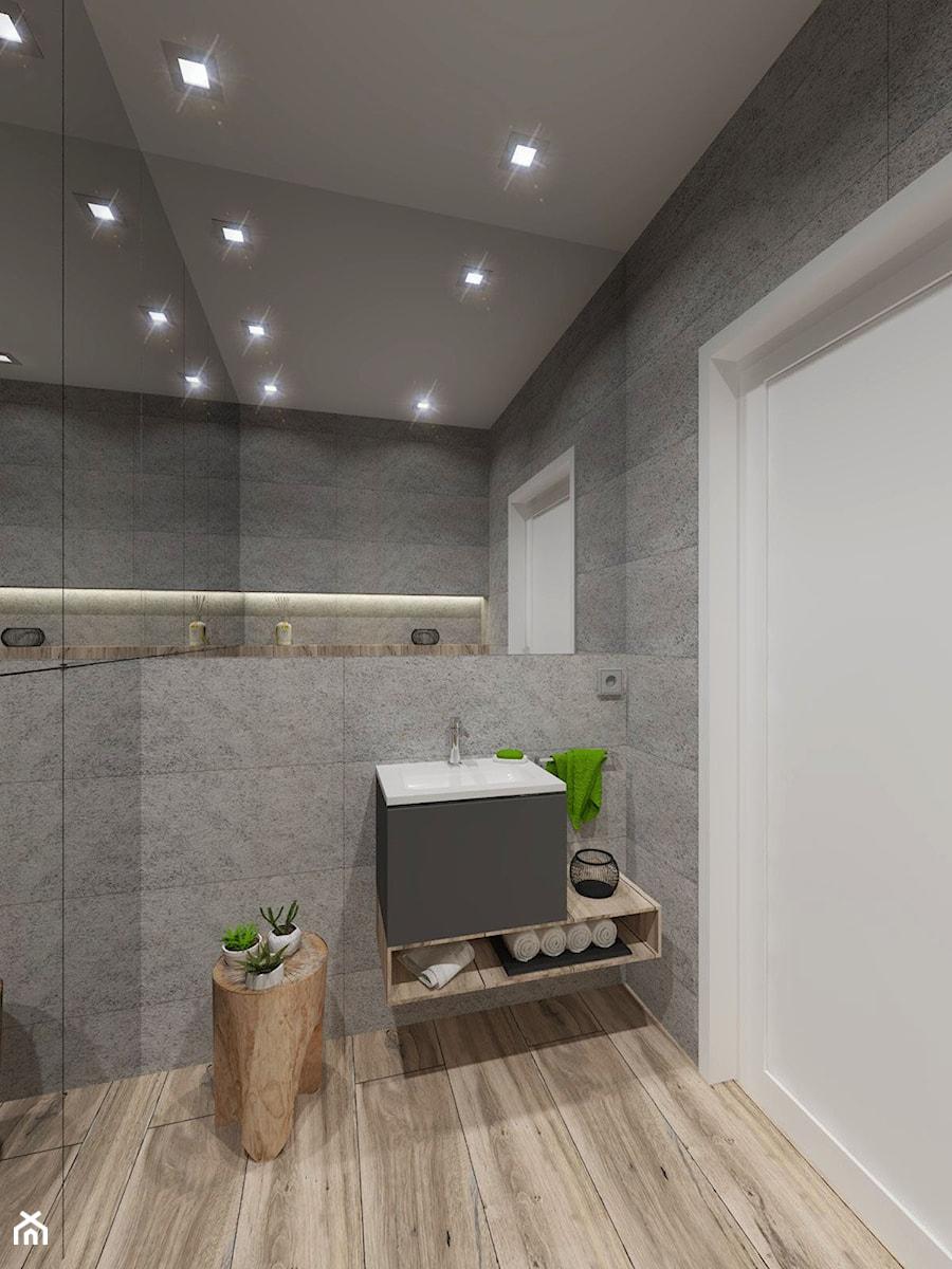 NOWOCZESNE MIESZKANIE - projekt - Mała szara łazienka w bloku w domu jednorodzinnym bez okna, styl ... - zdjęcie od GALERIE VENIS DESIGN STUDIO