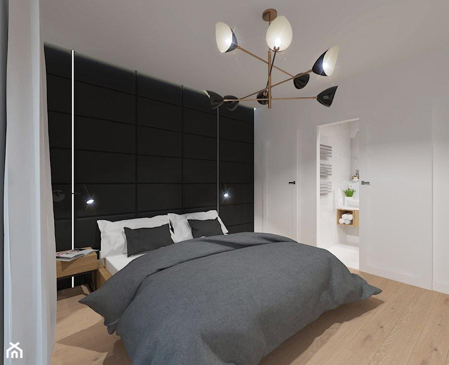 NOWOCZESNE MIESZKANIE - projekt - Średnia biała czarna sypialnia małżeńska, styl nowoczesny - zdjęcie od GALERIE VENIS DESIGN STUDIO