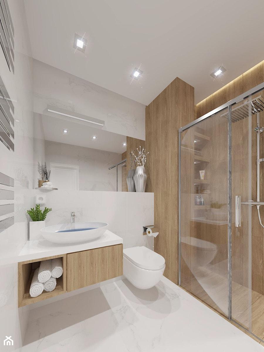 NOWOCZESNE MIESZKANIE - projekt - Mała szara łazienka w bloku w domu jednorodzinnym bez okna, styl nowoczesny - zdjęcie od GALERIE VENIS DESIGN STUDIO