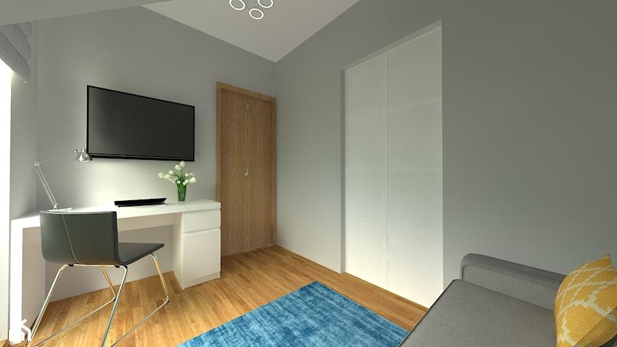 DOM W CHORZOWIE - Średnie szare biuro domowe kącik do pracy w pokoju, styl nowoczesny - zdjęcie od Architekt Anna Maj