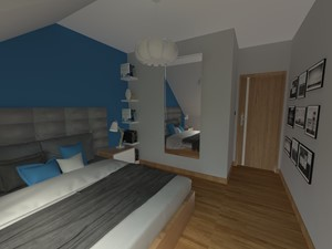 DOM W CHORZOWIE - Średnia szara niebieska sypialnia małżeńska, styl nowoczesny - zdjęcie od Architekt Anna Maj