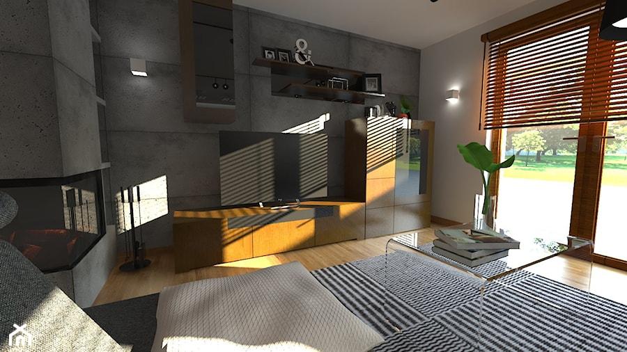 DOM W CHORZOWIE - Mały szary czarny salon, styl nowoczesny - zdjęcie od Architekt Anna Maj