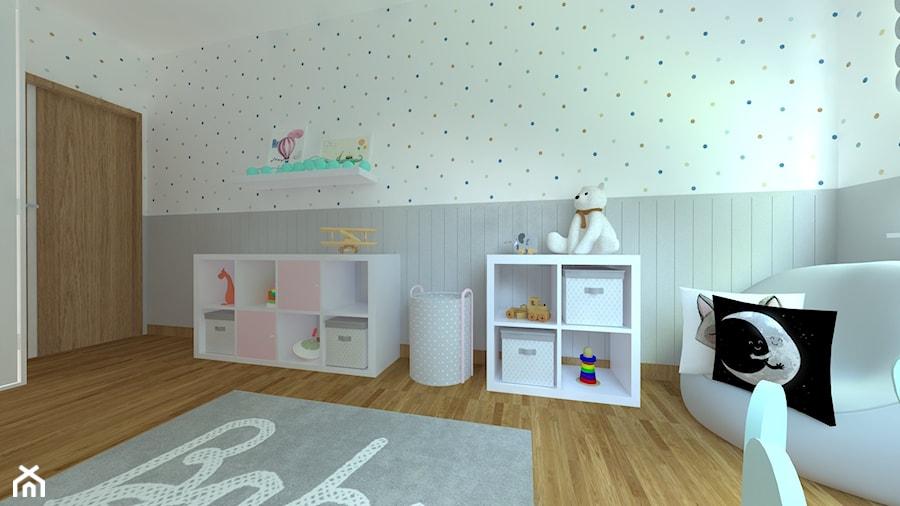 DOM W CHORZOWIE - Średni biały szary pokój dziecka dla chłopca dla dziewczynki dla malucha, styl nowoczesny - zdjęcie od Architekt Anna Maj