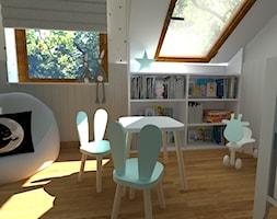 DOM W CHORZOWIE - Średni biały szary pokój dziecka dla chłopca dla dziewczynki dla ucznia dla niemowlaka, styl nowoczesny - zdjęcie od Architekt Anna Maj