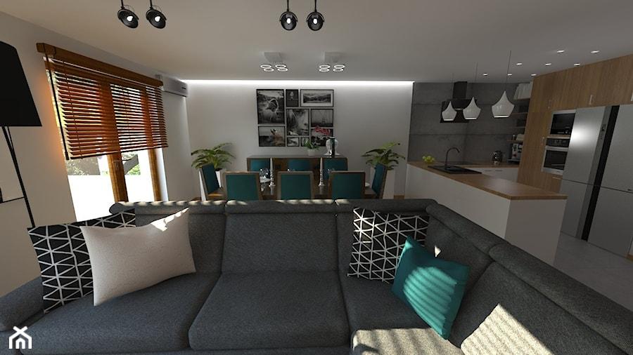 DOM W CHORZOWIE - Biały salon z kuchnią z jadalnią z tarasem / balkonem, styl nowoczesny - zdjęcie od Architekt Anna Maj