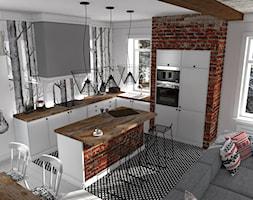 Mieszkanie prywatne Konstancin - Średnia otwarta czerwona kolorowa kuchnia w kształcie litery l z wyspą, styl nowoczesny - zdjęcie od CKkwadrat