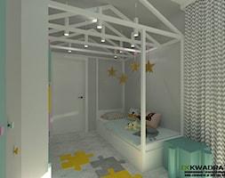 Pokój dziecięcy z łazienką - Mały szary pokój dziecka dla chłopca dla dziewczynki dla malucha, styl nowoczesny - zdjęcie od CKkwadrat