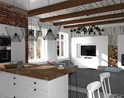 Mieszkanie prywatne Konstancin - Średni biały salon z kuchnią z jadalnią, styl skandynawski - zdjęcie od CKkwadrat