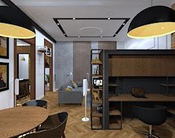 Mieszkanie w kamienicy - Duże szare białe biuro domowe kącik do pracy w pokoju, styl nowoczesny - zdjęcie od CKkwadrat