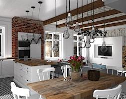 Mieszkanie prywatne Konstancin - Średnia otwarta biała jadalnia w kuchni, styl skandynawski - zdjęcie od CKkwadrat