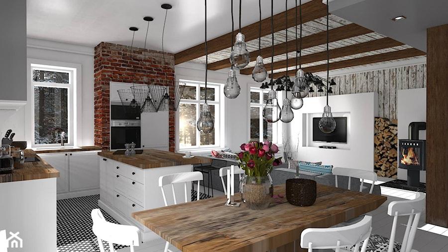 Mieszkanie prywatne Konstancin  Średnia otwarta jadalnia   -> Kuchnia Tapeta Czy Farba