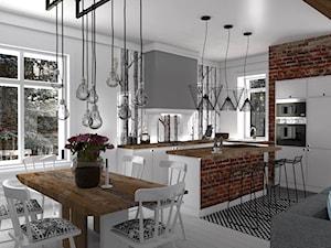 Mieszkanie prywatne Konstancin - Duża otwarta biała kuchnia w kształcie litery l z wyspą, styl skandynawski - zdjęcie od CKkwadrat