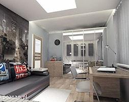 Pokój młodzieżowy - Średnie szare biuro kącik do pracy w pokoju, styl nowoczesny - zdjęcie od APA ARCHES sp. z o.o. sp.k.
