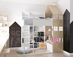 Mieszkanie w gdańskiej kamienicy - Mały biały czarny pokój dziecka dla chłopca dla dziewczynki dla malucha, styl skandynawski - zdjęcie od BEZ CUKRU studio projektowe