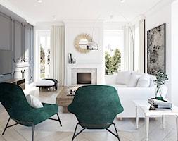 Dom dla rodziny - Mały szary biały salon z jadalnią, styl eklektyczny - zdjęcie od BEZ CUKRU studio projektowe - Homebook