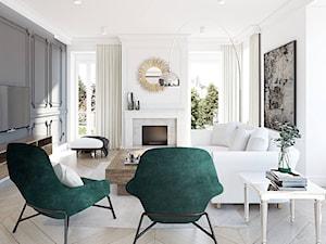 Dom dla rodziny - Mały szary biały salon z jadalnią, styl eklektyczny - zdjęcie od BEZ CUKRU studio projektowe