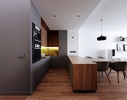 Mieszkanie Wilanów - Średnia otwarta wąska biała żółta kuchnia w kształcie litery u w aneksie, styl nowoczesny - zdjęcie od Kameleon - Kreatywne Studio Projektowania Wnętrz