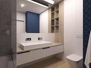 Mieszkanie Warszawa, Kabaty - Średnia biała łazienka w bloku w domu jednorodzinnym bez okna, styl nowoczesny - zdjęcie od Kameleon - Kreatywne Studio Projektowania Wnętrz