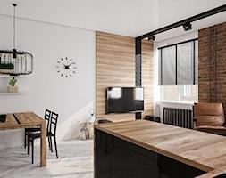 Kuchnia połączona z salonem - przegląd inspiracji - Średni szary salon z jadalnią, styl nowoczesny - zdjęcie od Kameleon - Kreatywne Studio Projektowania Wnętrz - Homebook