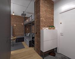 Mieszkanie Praga Południe - Mały biały brązowy salon, styl nowoczesny - zdjęcie od Kameleon - Kreatywne Studio Projektowania Wnętrz