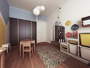 Mieszkanie Wilanów - Średni biały żółty niebieski pokój dziecka dla chłopca dla dziewczynki dla ucznia dla niemowlaka dla malucha, styl nowoczesny - zdjęcie od Kameleon - Kreatywne Studio Projektowania Wnętrz