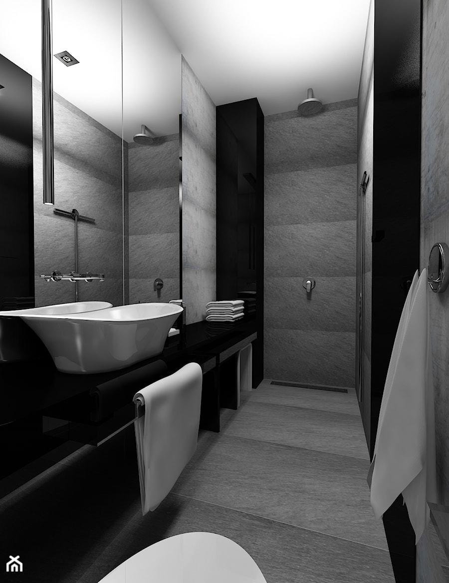 azienka w czerni zdj cie od kameleon kreatywne studio projektowania wn trz. Black Bedroom Furniture Sets. Home Design Ideas
