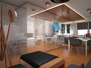 Biuro nowoczesne: z przeszkleniami i drewnem