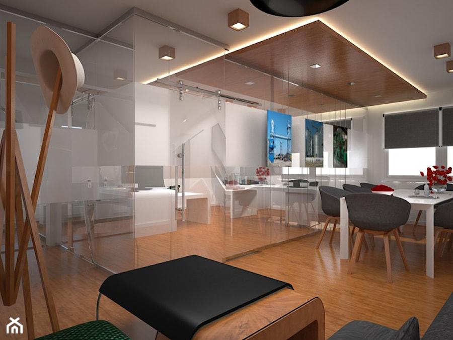 Biuro z drewnem i szkłem w tle - zdjęcie od Kameleon - Kreatywne Studio Projektowania Wnętrz