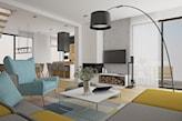 nowoczesny salon z turkusowymi fotelami
