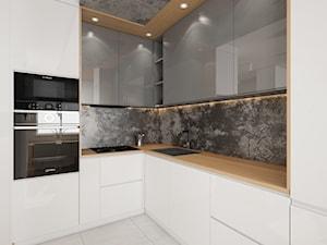 Mieszkanie Bemowo - Mała otwarta kuchnia w kształcie litery l w aneksie, styl nowoczesny - zdjęcie od Kameleon - Kreatywne Studio Projektowania Wnętrz