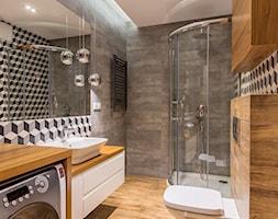 Mieszkanie Warszawa, Sadyba - Średnia szara łazienka w bloku w domu jednorodzinnym bez okna, styl nowoczesny - zdjęcie od Kameleon - Kreatywne Studio Projektowania Wnętrz - Homebook