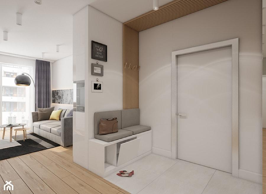 Mieszkanie Bemowo - Średni beżowy hol / przedpokój, styl nowoczesny - zdjęcie od Kameleon - Kreatywne Studio Projektowania Wnętrz