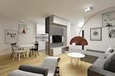 nowoczesny salon z jadalnią i oddzielony ścianką od kuchni