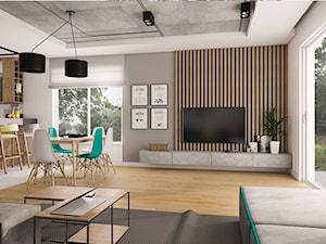 Dom Siedlce 2 - Duży szary biały salon z kuchnią z jadalnią z tarasem / balkonem, styl nowoczesny - zdjęcie od Kameleon - Kreatywne Studio Projektowania Wnętrz