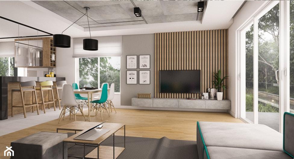 Dom Siedlce 2 - Duży szary biały salon z kuchnią z jadalnią z tarasem / balkonem, styl nowoczesny - zdjęcie od Kameleon - Kreatywne Studio Projektowania Wnętrz - Homebook