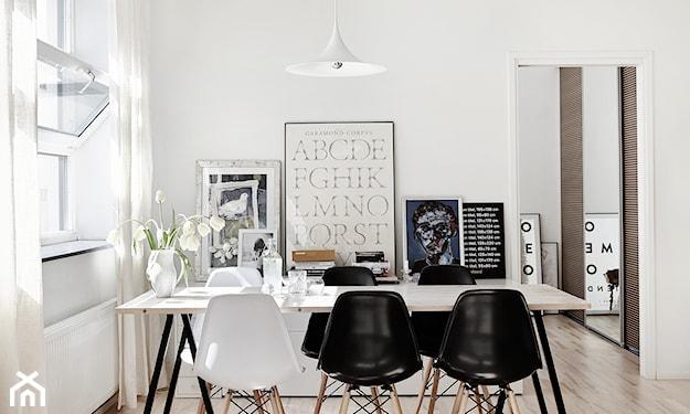 biało-czarna jadalnia skandynawska