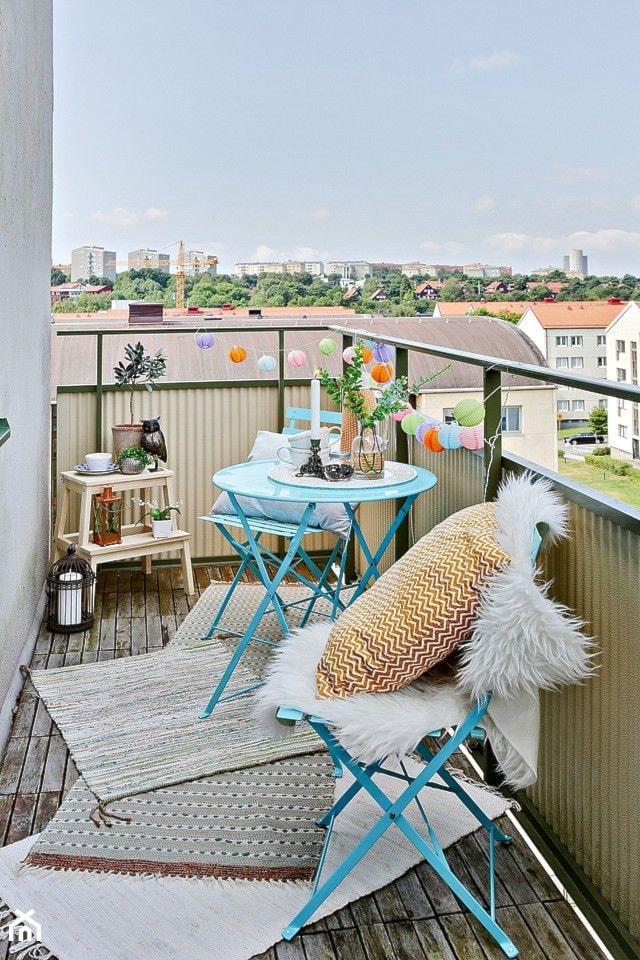 Jak urządzić balkon? - ciekawe pomysły na aranżację przestrzeni balkonowych - Średni taras na dachu, styl skandynawski - zdjęcie od MartaWieclawDesign - Homebook