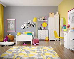 Średni szary żółty pokój dziecka dla chłopca dla dziewczynki dla ucznia dla malucha dla nastolatka - zdjęcie od meblezych.pl