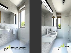 dom w zabudowie szeregowej - Mała biała łazienka w bloku w domu jednorodzinnym z oknem, styl rustykalny - zdjęcie od Marta Wanat Projektowanie wnętrz
